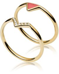 Fossil - Gold-tone Stainless Steel And Enamel Fashion Women's Double Ring W/strass - Lyst