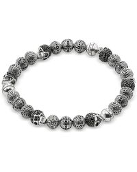 Thomas Sabo - Blackened 925 Sterling Silver Cross And Skulls Bracelet W/zirconia - Lyst