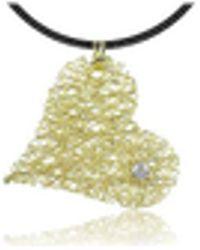 Orlando Orlandini - Diamond 18k Yellow Gold Heart Pendant W/lace - Lyst