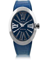 LOCMAN Change Orologio da Donna in Acciaio con Set di 3 Cinturini in Pelle Cocco - Blu