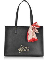 Love Moschino | Black Saffiano Eco-leather Tote Bag W/foulard | Lyst