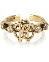 Roberto Cavalli - Brushed Goldtone Rc Icon Ring - Lyst