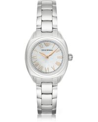 Emporio Armani - Stainless Steel Women's Watch W/rose Gold Pvd Roman Numbers - Lyst