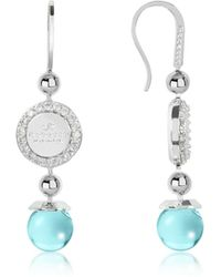 Rebecca - Boulevard Stone Rhodium Over Bronze Dangle Earrings W/turquoise Hydrothermal Stone - Lyst