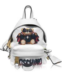 Moschino Kleiner Spooky Teddy Bear Rucksack in weiß