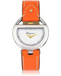 Ferragamo - Buckle Collection Silver Tone Stainless Steel Case And Orange Leather Strap Women's Watch - Lyst