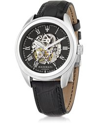 Maserati - Traguardo Silver Tone Stainless Steel Case And Black Embossed Leather Strap Men's Watch - Lyst