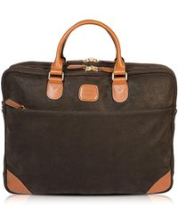 Bric's Life Large Olive Green Micro Suede Laptop Attache - Natural