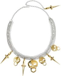 Bernard Delettrez - Silver Chains With Bronze Skulls And Dagger Necklace - Lyst
