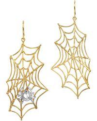 Bernard Delettrez - Spiderweb Bronze And Silver Earrings - Lyst