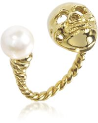 Bernard Delettrez - Bronze Skull Ring W/pearl - Lyst