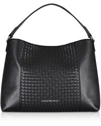 Emporio Armani Black Woven Eco-leather Shoulder Bag