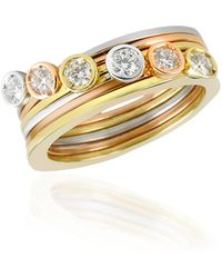 Torrini - Bezel-set Diamond Three-tone 18k Gold Stackable Ring - Set Of Six - Lyst