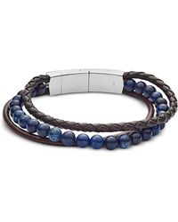 Fossil - Men's Vintage Casual Multi-strand Leather And Blue Sodalite Bead Bracelet - Lyst