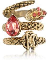 Roberto Cavalli - Goldtone Metal Triple Ring W/red Crystals - Lyst