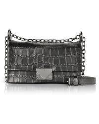 Emporio Armani - Croco-embossed Leather Small Shoulder Bag - Lyst deba44e5b0