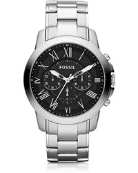 Fossil - Grant Chronograph Silver Stainless Steel Men's Watch - Lyst