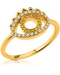 KENZO - Goldtone Mini Eye Ring W/crystals - Lyst