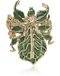Bernard Delettrez Leaf Insect Bronze Ring W/ Enamel
