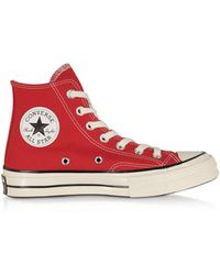 Converse Chuck 70 Classic High Top Sneakers in Canvas Enamel Red - Rosso