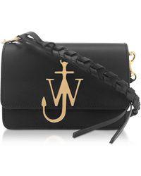 JW Anderson Black Anchor Logo Bag w/Braided Shoulder Strap - Negro