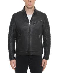 FORZIERI - Black Padded Leather Men's Biker Jacket - Lyst