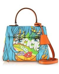 Moschino - Juicicle Comic Girl Orange Eco Leather Satchel Bag W/shoulder Strap - Lyst