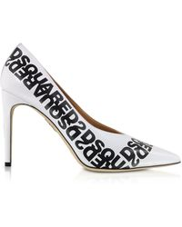 DSquared² White Printed Calf Leather Pumps