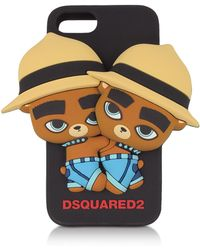 "DSquared² Funda para iphone 7 ""Bears"" de silicón - Negro"