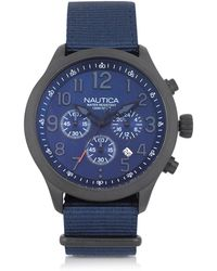Nautica - Black Matte Stainless Steel Dial And Navy Blue Fabric Strap Men's Watch - Lyst