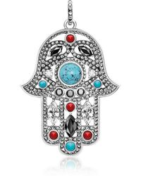Thomas Sabo - Blackened Sterling Silver Hand Of Fatima Pendant W/turquoise And Zirconia - Lyst
