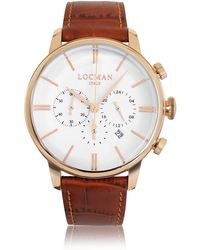 LOCMAN 1960 Rose Gold PVD Stainless Steel Men's Chronograph Watch w/Brown Croco Embossed Leather Strap - Braun