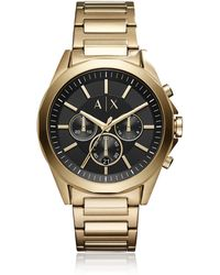 Armani Exchange - Drexler Black Dial And Gold Tone Stainless Steel Men's Chronograph Watch - Lyst