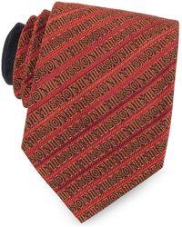 Missoni Red And Orange Signature Diagonal Stripe Woven Silk Narrow Tie