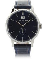 LOCMAN - 1960 Silver Stainless Steel Men's Watch W/dark Blue Croco Embossed Leather Strap - Lyst