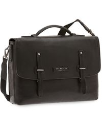 The Bridge Kallio Genuine Leather Top-handle Men's Briefcase W/laptop & Tablet Compartments - Black