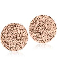 Rebecca R-zero Rose Gold Over Bronze Round Earrings - Multicolour