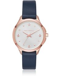 Karl Lagerfeld - Karoline Rose Gold-tone And Navy Leather Watch - Lyst