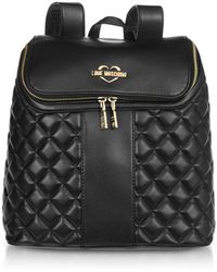 Love Moschino Black Quilted Eco Leather Backpack - Noir