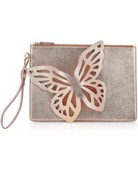 Sophia Webster Flossy Butterfly Rose Gold Leather Pouchette - Multicolor