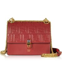 Fendi - Strawberry Red Ff Printed Leather Kan I Small Shoulder Bag - Lyst