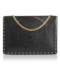 Balmain - Black Coin Embossed Leather Mini Domaine Pouch W/chain - Lyst