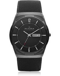 Skagen - Melbye Black Stainless Steel Mesh And Titanium Case Multifunction Men's Watch - Lyst