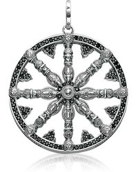 Thomas Sabo - Blackened Sterling Silver Pendant W/black Cubic Zirconia - Lyst