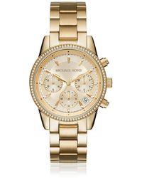 Michael Kors Ritz Pavé Gold Tone Women's Watch - Mettallic