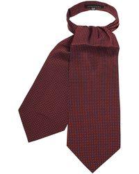 FORZIERI Micro Feather Red Twill Silk Ascot Tie - Rojo