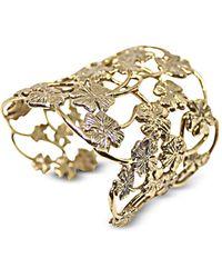 Bernard Delettrez Brass Multi Four-Cleaf Clovers Flat Cuff Bracelet - Metálico