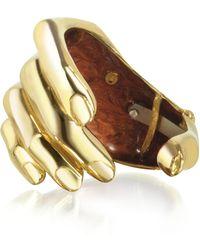 Bernard Delettrez Hand Bronze Cuff Bracelet - Metallic
