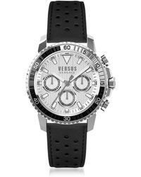 Versus - Aberdeen Silver Stainless Steel Men's Chronograph Watch W/black Leather Strap - Lyst
