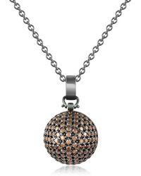 Azhar Semi-sphere Pendant Necklace - Brown